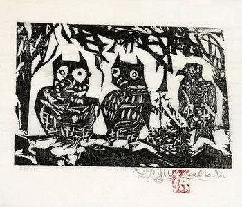 Munakata Shiko: Night Birds (the fence of...) (Yacho Domo no saku) - Scholten Japanese Art