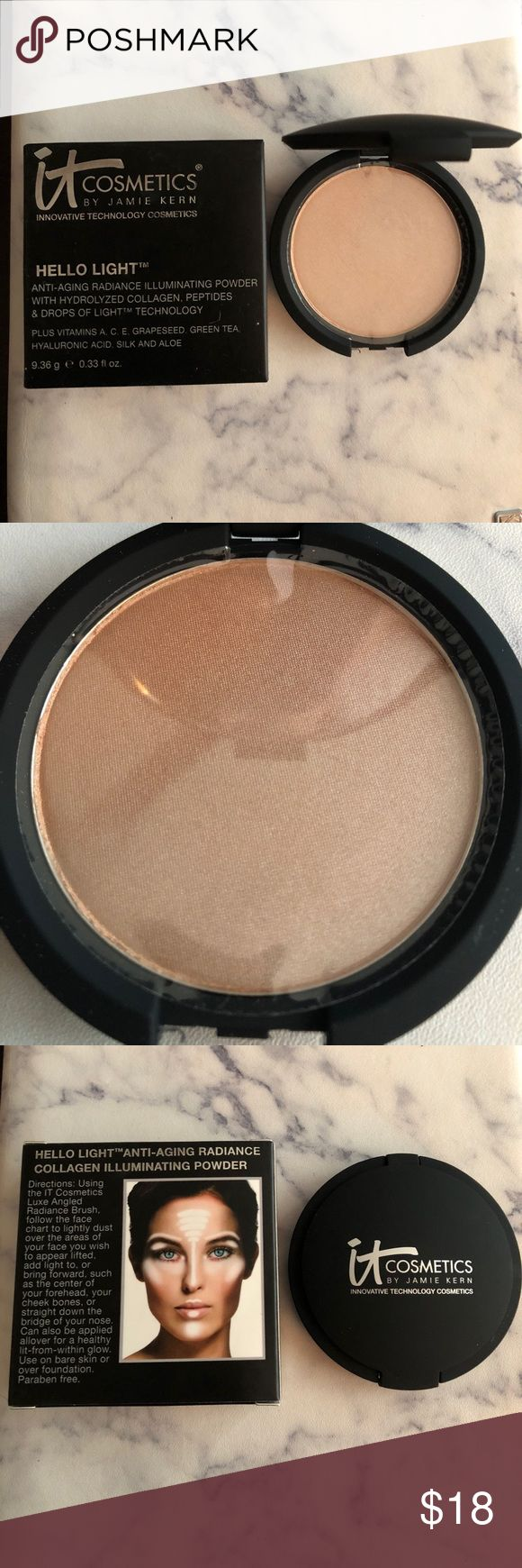 IT Cosmetics | Hello Light Anti-Aging Highlighter IT Cosmetics HELLO LIGHT Anti-Aging Radiance Illuminating Powder with Hydrolyzed Collagen, Peptides and Drops of Light Technology, plus Vitamins A, C, E, Grapeseed, Green Tea, Hyaluronic Acid, Silk and Aloe - NEW WITH BOX/PACKAGING! IT Cosmetics Makeup Luminizer