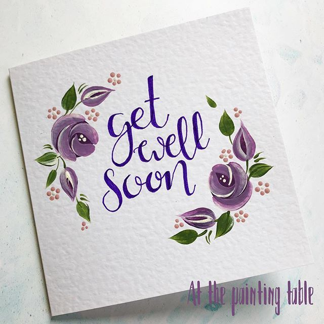 Purples Handpainted Get Well Soon Card Created Using Our Vintage