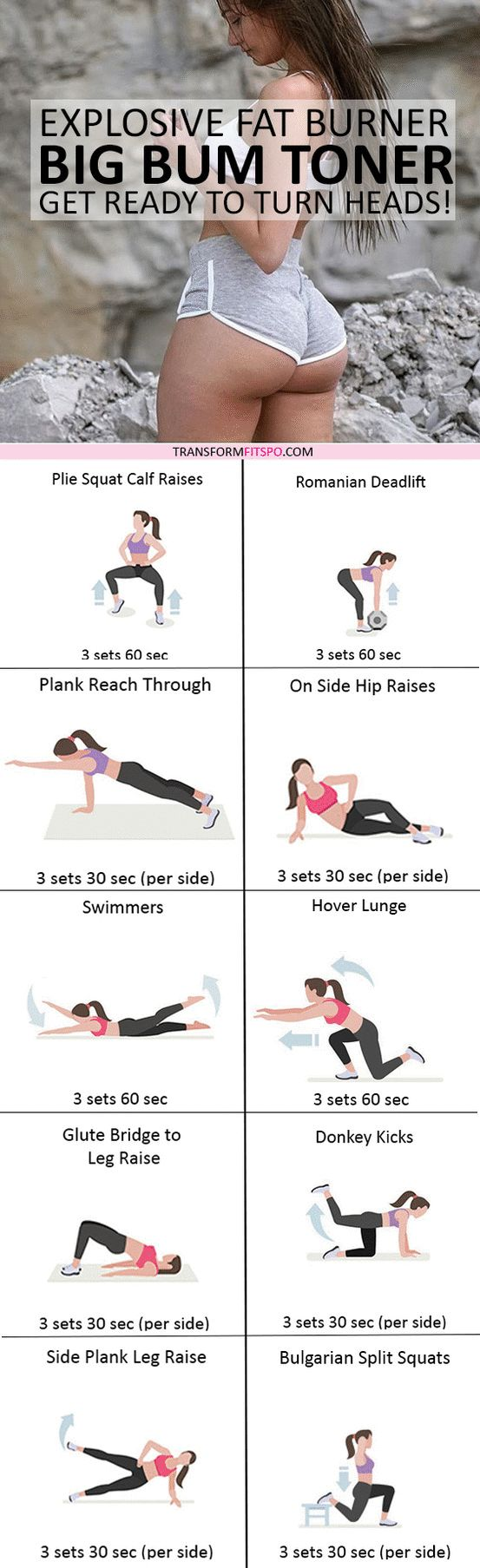 #womensworkout #workout #femalefitness Repin and share if this workout gave you a big toned bum! Click the pin for the full workout.