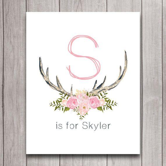 Antler Nursery Wall Art Printable Digital Download, Girl Tribal Woodland Baby Shower Gift, Floral Personalized Decor, Deer Antler Printable