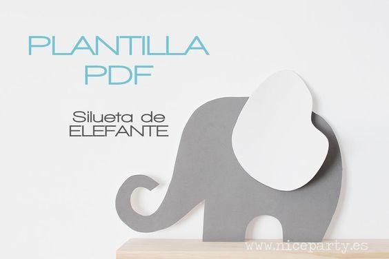 Plantilla para realizar la figura de nuestra fiesta del elefante. PDF para imprimir en A4 y recortar y armar las piezas para después recortar las s...
