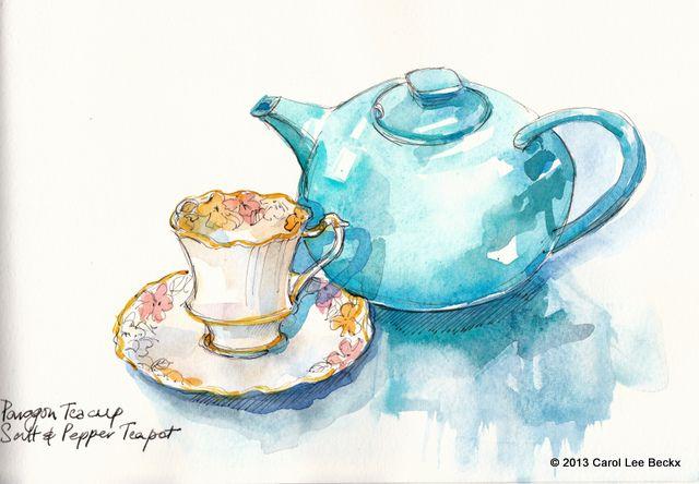 I couldn't resist adding colour! Paragon china teacup with Salt & Pepper Teapot. Ink and watercolour - Moleskine watercolour sketchbook.