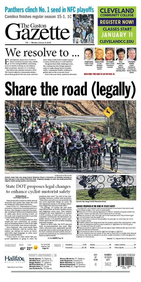 The Gaston Gazette - Jan. 4, 2016: Community leaders share goals for 2016, Panthers clinch No. 1 seed in NFC playoffs, Proposed legal changes to make roads safer for cyclists.