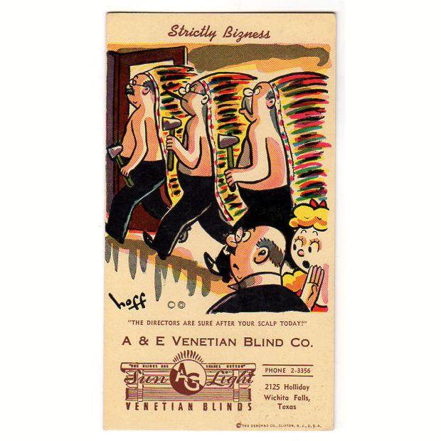 A & E Venetian Blind Co. Vintage 1950s Wichita Falls, Texas Advertising Ink Blotter