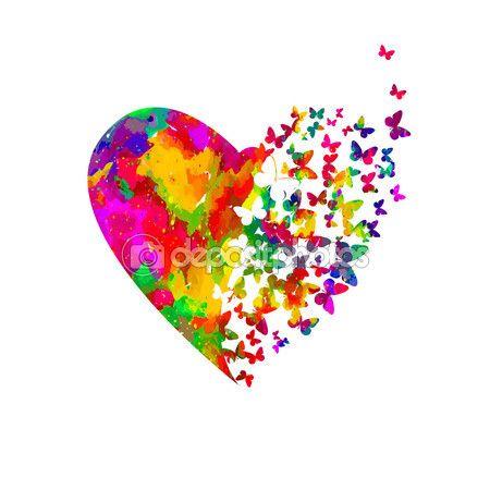 Corazón, acuarela con mariposas — Vector de stock © maryia777 #61612823