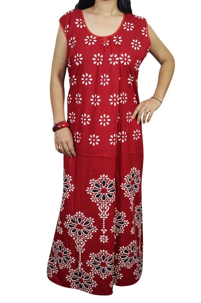 """Indiatrendzs Women Nighty Cotton Red Printed Sleepwear Maxi Night Gown 50"""" #nighty #women #nightwear #nightdress #sleepwear"""