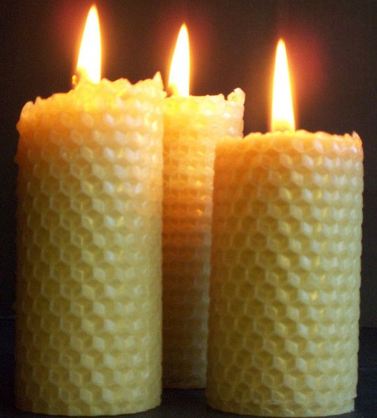 5 x Bright and Happy beeswax candles