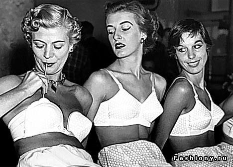 1950s: Topping up an inflatable bra