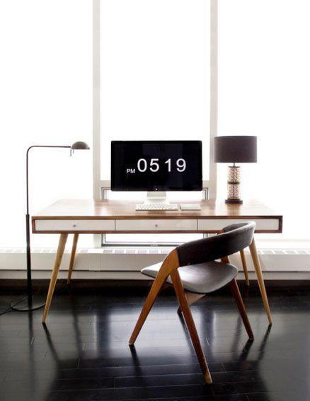 = black and wood workstation