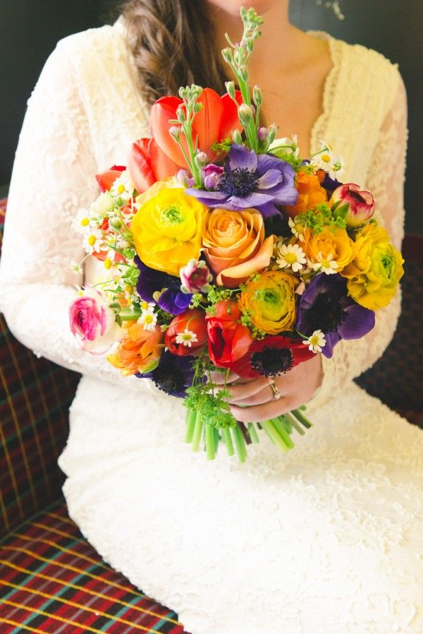 rainbow colourful bouquet spring wedding, image by http://www.babbphoto.com/