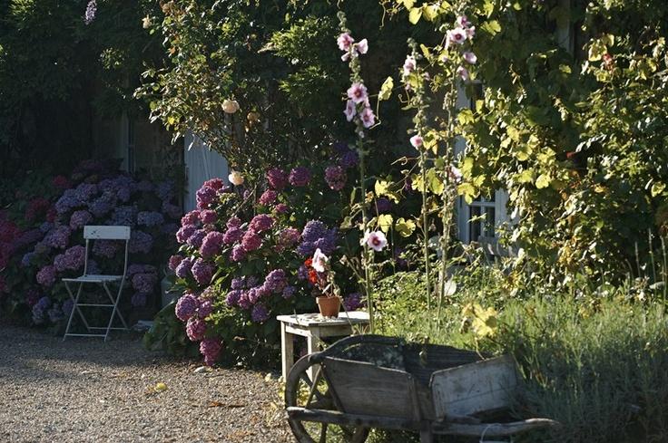 Jardin de  la maison d'hôtes de charme la Ferme de Kerscuntec en Finistrère, bretagne Sud, entre Quimper et Bénodet, entre mer et campagne.