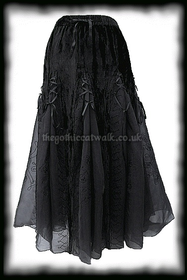 Black Velvet & Organza Long Gothic Skirt