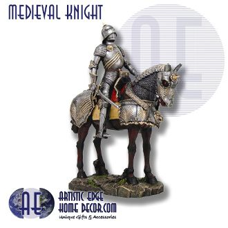 Medieval Knight on Horse - Hand Painted