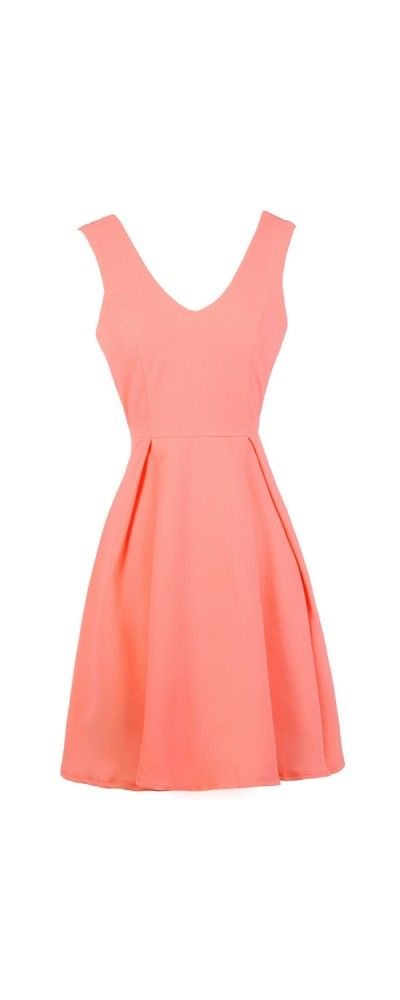 Lily Boutique Neysha A-Line Dress in Neon Coral www.lilyboutique.com