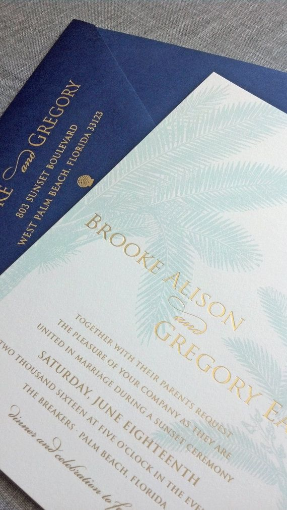 addressing wedding invitations married woman doctor%0A Dark envelope  Brooke Gold Foil Stamped Palm Tree Beach Wedding Invitation  by Cricket Printing on