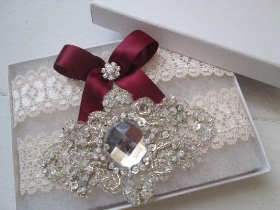 Marsala & Ivory Lace Wedding Garter Set Wine by GibsonGirlGarters