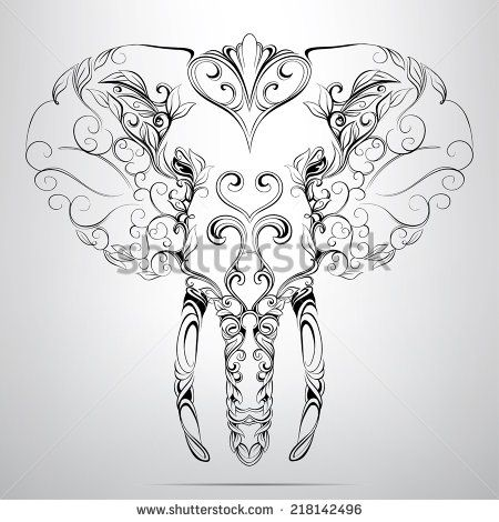 Elephant Head Drawing | Elephant Stock Photos, Illustrations, and Vector Art
