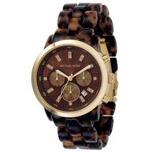 I just added this to my closet on Poshmark: Michael Kors tortoiseshell chronograph watch. Price: $75 Size: OS