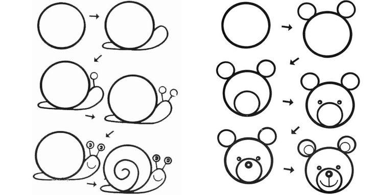 desenhos faceis de desenhar - caracol e urso