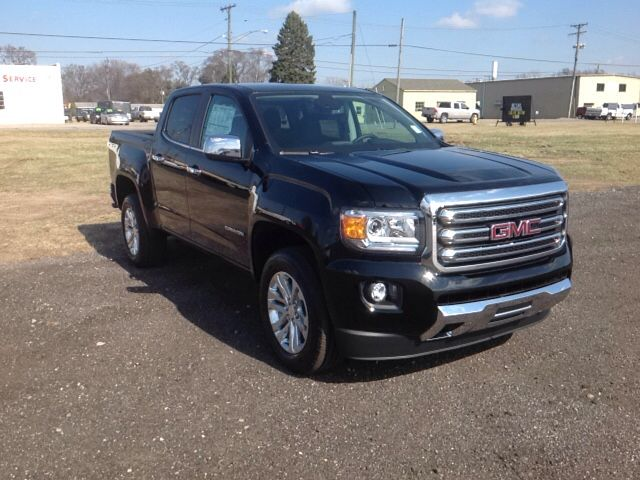 New 2017 GMC Canyon SLT Truck Crew Cab Elkhart  A great vehicle and a great value! Top features include front fog lights, leather upholstery, variably intermittent wipers, and power front seats. Smooth gearshifts are achieved thanks to the refined 6 cylinder engine, and for added security, dynamic Stability Control supplements the drivetrain. Four wheel drive allows you to go places you've only imagined.   See more at www.lochmandymotors.com
