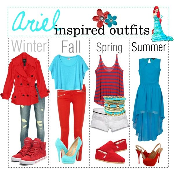 """Ariel inspired outfits"" by shannonstyles on Polyvore"