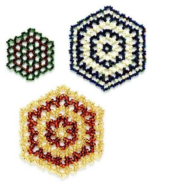The six-sided hexagon is a favorite of the natural world, from honeycombs to snowflakes. Hexagonal netting stitch is worked in rounds from the center out.