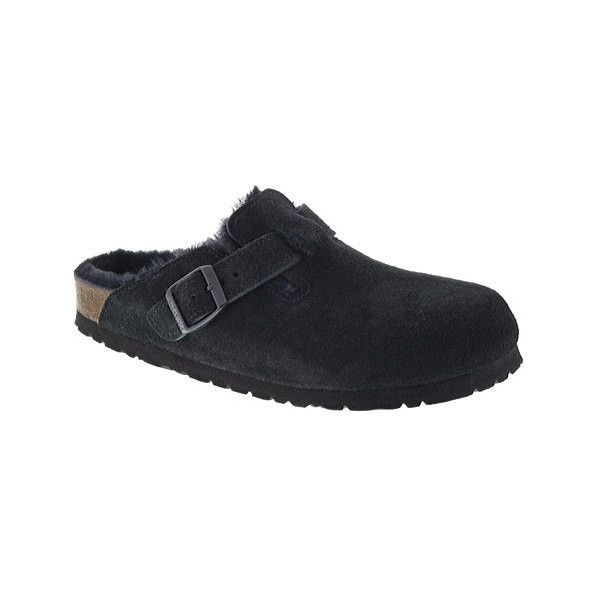 Women's Birkenstock Boston Suede Shearling Clog ($165) ❤ liked on Polyvore featuring shoes, clogs, casual, casual shoes, black evening shoes, black suede mules, suede clogs, clogs mules and slip on mules