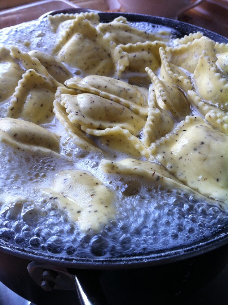 Buckwheat ravioli with bresaola filling (sauteed in butter and sage)!