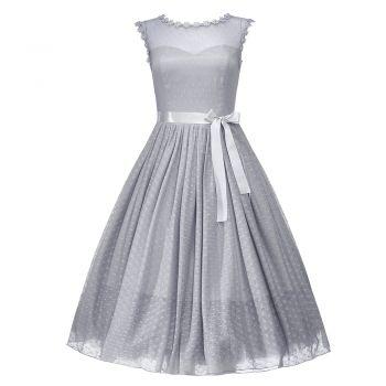Aphrodite Dove Gray Occasion Dress | Vintage Style Dresses - Lindy Bop