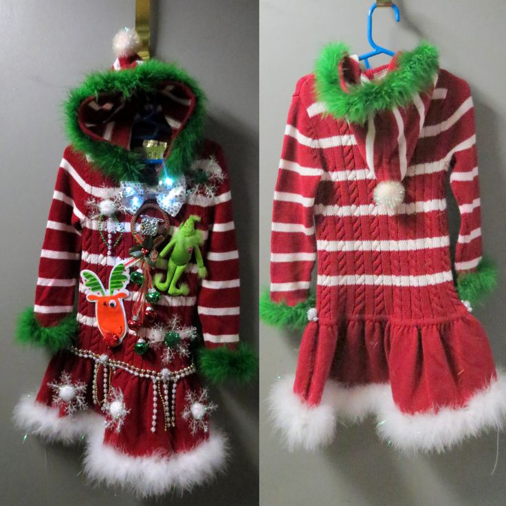 Darling Girls Grinch Tacky Ugly Christmas Sweater Dress Pixie Hooded  Candy Cane Striped Light up bow tie Feather Trim sz Toddler  4 years - pinned by pin4etsy.com