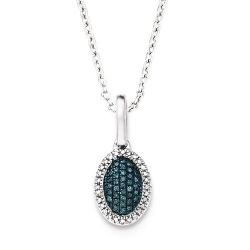 Sterling Silver Blue And White Diamond Oval Pendant
