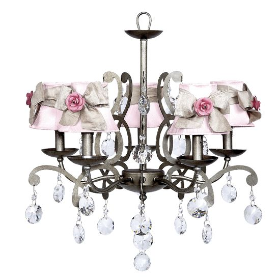 5 Arm Elegance Antique Grey Chandelier With Pink Champagne Sash Shades And Bright