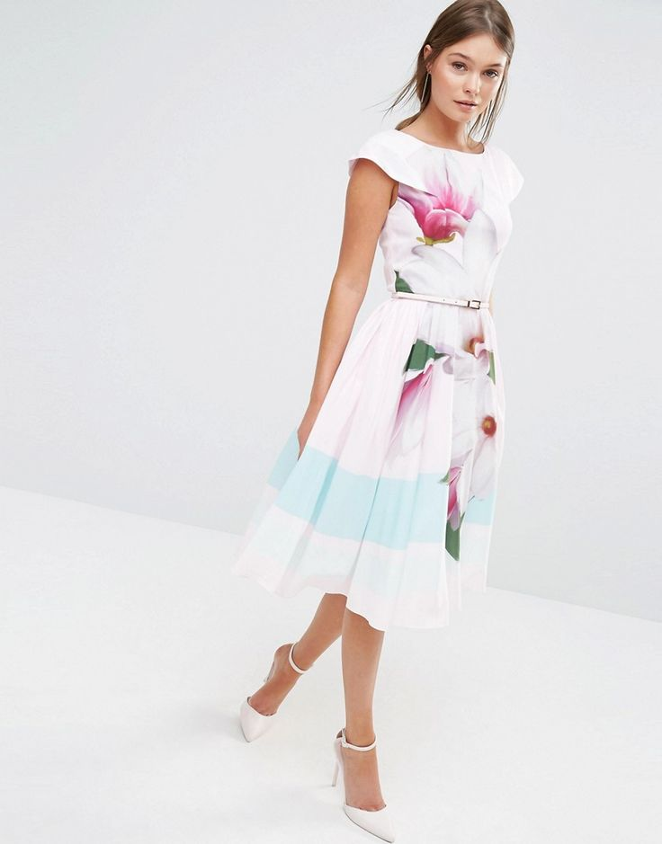 Image 4 of Ted Baker Bromlie Prom Dress in Pink Magnolia Print