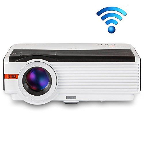 Cheap Wifi LED Projector 1080P HDMI 5000 Lumen Multimedia Wireless Android Home Cinema Projector Support Apple Airplay Android Miracast DLNA for iPad Mac Smartphone Laptop Computer Movie Gaming Projector for PS3 XBOX PS4 Wii DVD TV Box deals week