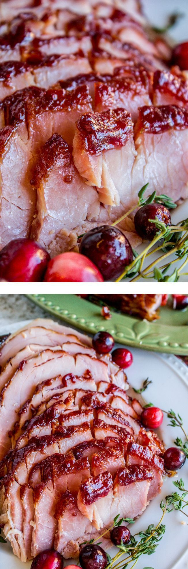 Oven roasted Cranberry Dijon Glazed Ham. This easy holiday recipe uses fresh cranberries, it's perfect for the holiday season! I love the zing that the dijon mustard adds too. It's super easy to throw together! Make it for Thanksgiving, Christmas dinner!