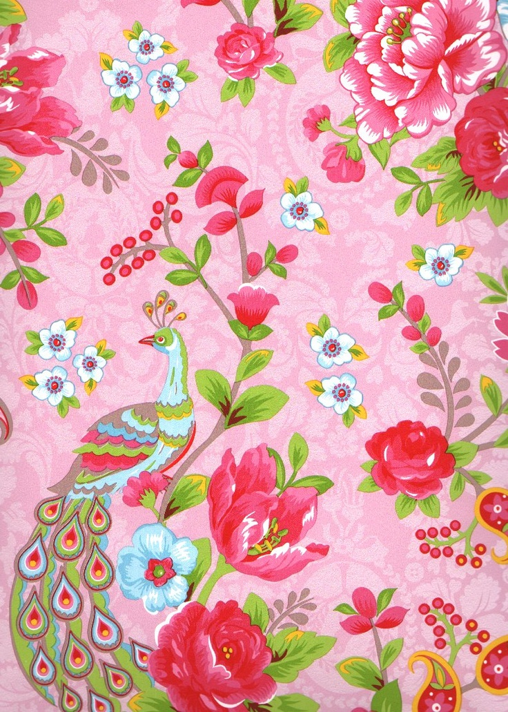 Pink floral, paisley, peacock wallpaper by Eijffinger Pip