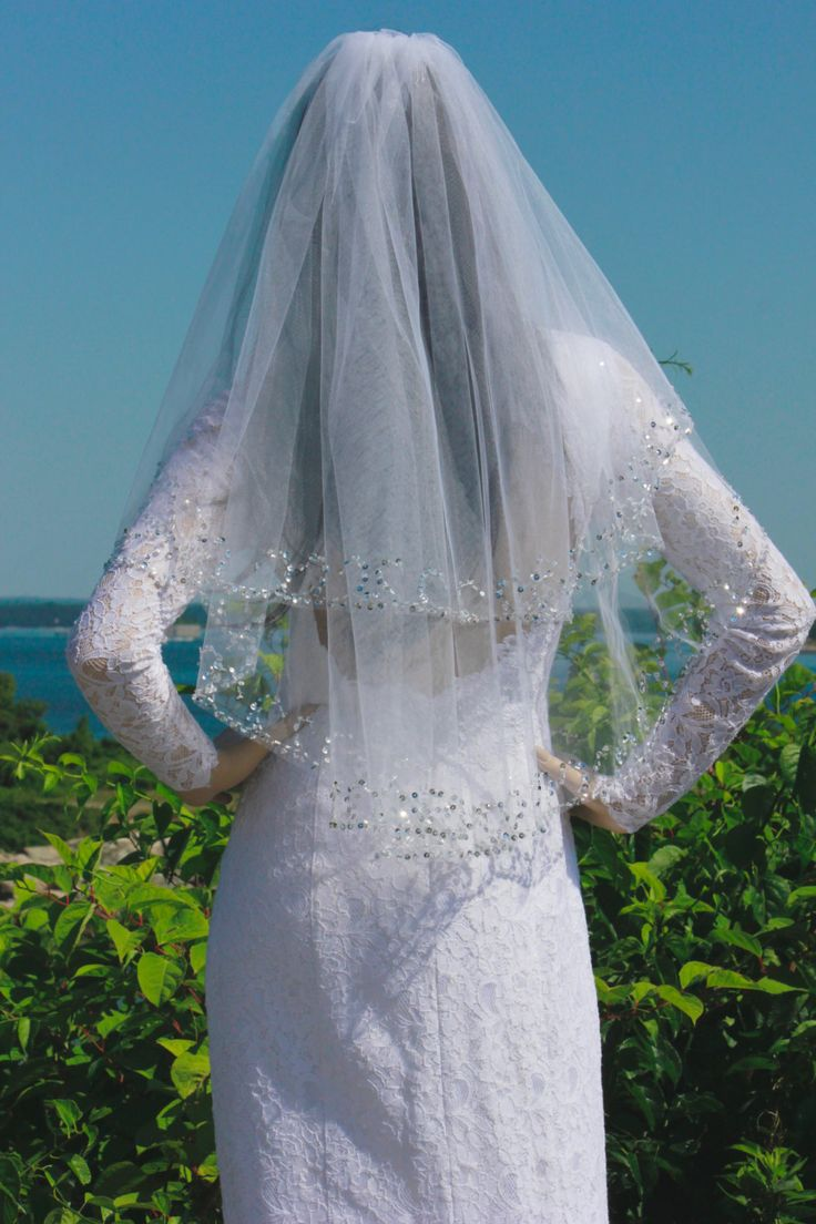 Two Layer Wedding Veil with Comb, Exquisite Sequin Beaded Bridal Veil, Wedding Accessory, READY TO SHIP by LTCoutureAtelier on Etsy