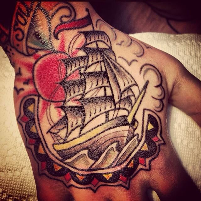 Pirate ship hand tattoo