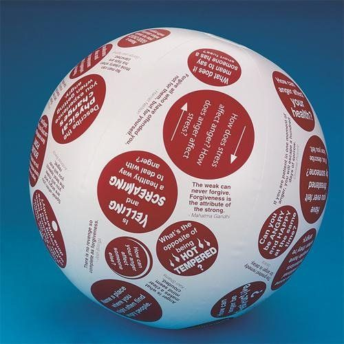 "Toss 'N Talk-About Anger Management Ball by S Worldwide. $14.99. Inspire new ways to think about anger and appropriate responses! The questions, quotes and positive affirmations printed on this 24"" inflatable ball helps lead conversations about personal feelings, common frustrations and tactics to help control temper and adopt a more cheerful attitude. Get your group to open up with questions like ""How can anger affect your health?"", ""Describe the physical chan..."