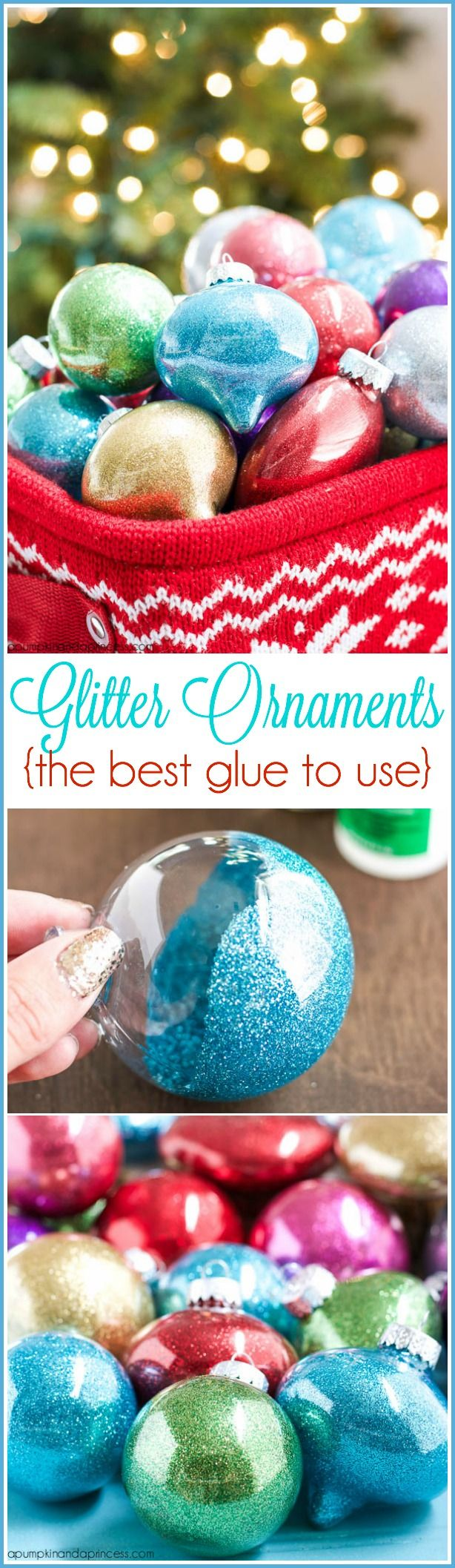 DIY Glitter Ornaments {best glue to use} - A Pumpkin And A Princess