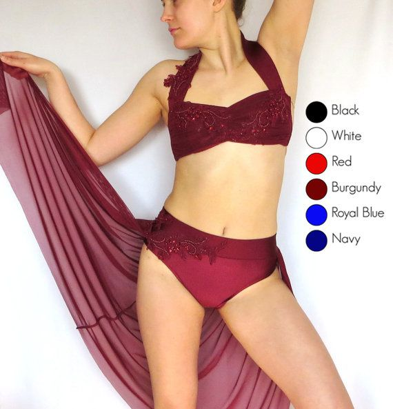 "Gorgeous romantic costume perfect for your solo or team  -Bandeau top with wide halter strap and nude straps at back -Gathers at center front for a sweetheart neckline -Full coverage briefs with wide waistband -Gathered calf-length skirt wraps around sides from back -Finished with gorgeous beaded/sequin appliques -Shown in Burgundy/Wine. Also available in black, white, red, and navy -Be sure to ""Favorite"" my shop to stay up to date on new styles!   For more custom costume styles go here…"