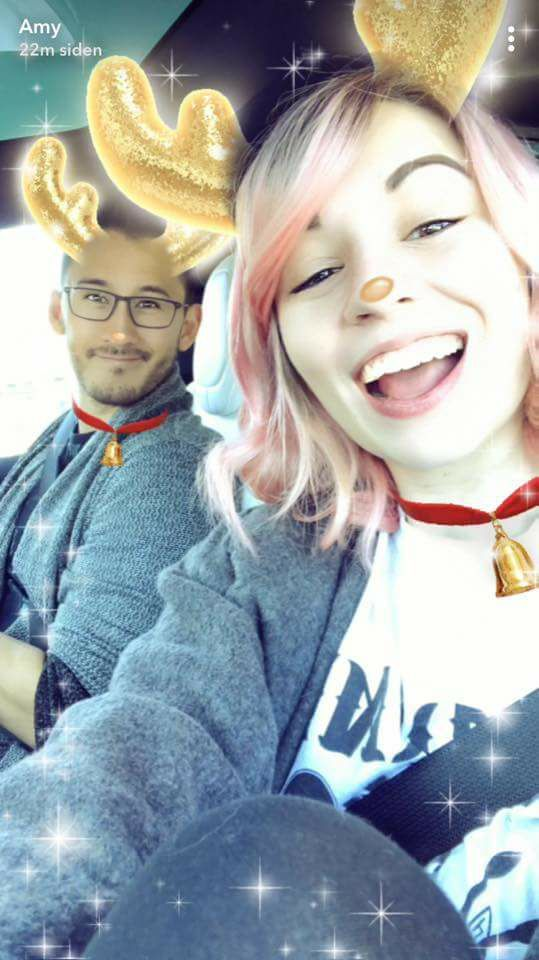 Amyplier snapchat | Amy Nelson and Mark Fischbach | Markiplier | reindeer filter