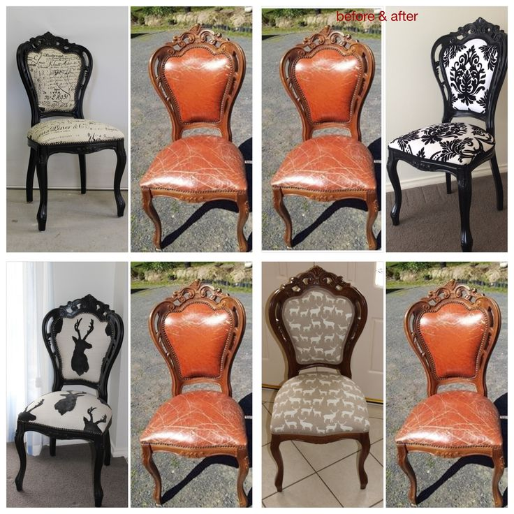 One style of chair four different fabric , makeovers .