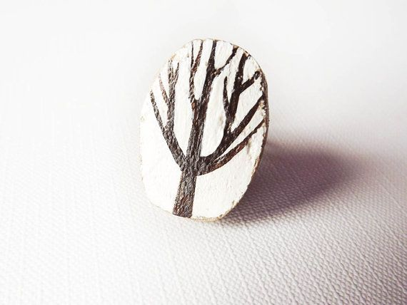 Tree ring brown and white adjustable  wooden by GabLabmadeinItaly