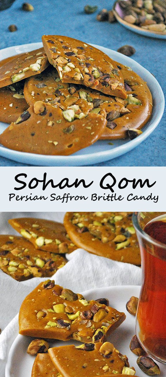 Sohan-e Qom is a traditional Persian saffron brittle candy coming from the city of Qom, Iran. Buttery, crunchy and scented with saffron, this candy is easy to make and utterly addictive with tea.