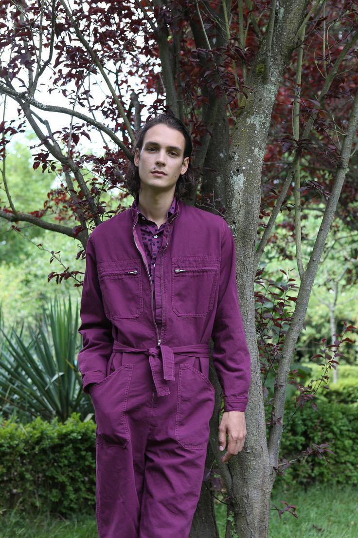 combinaison en coton surteint violet chemise imprimé de coton à pois surteint violet