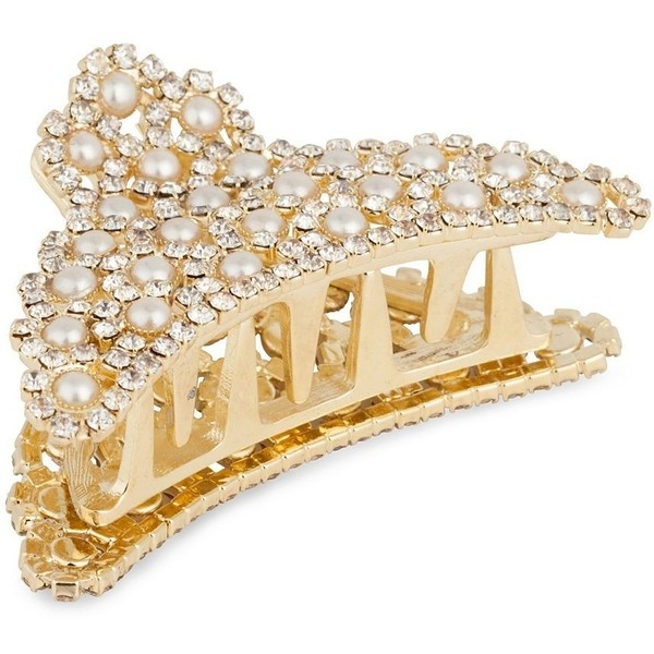 Pearl And Crystal Embellished Gold Bulldog Hair Clip ($15) ❤ liked on Polyvore