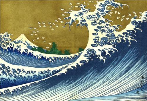 A colored version of the Big wave - Katsushika Hokusai
