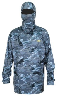 AFTCO Fish Ninja 2 Performance Fishing Hoodie for Men - Blue Camo - XL